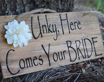 Here Comes The Bride Sign - Ring Bearer - Engraved Wood Sign - Rustic Wedding - Shabby Chic Wedding - Ceremony Decor - Ring Bearer Sign