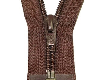 "5C 28"" Open Nylon Coil Brown Zipper"