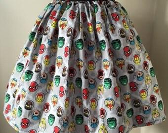 Ladies or girls Marvel Superheroes full skater style skirt