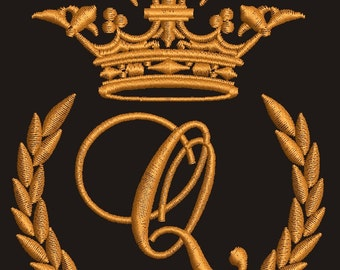 """Crown, laurel wreath and the monogram letter """"Q"""" - Machine embroidery design,   design tested."""
