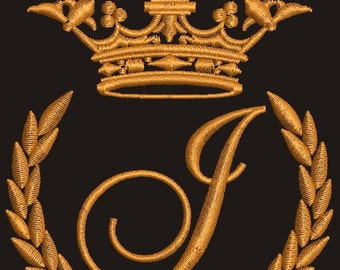 """Crown, laurel wreath and the monogram letter """"J"""" - Machine embroidery design,   design tested."""