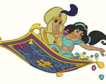 Aladdin and Jasmine on a carpet  - Machine Embroidery designs,