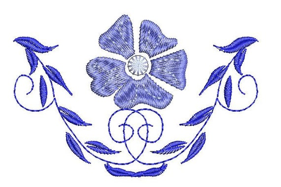 Set of ornamental machine embroidery designs blue