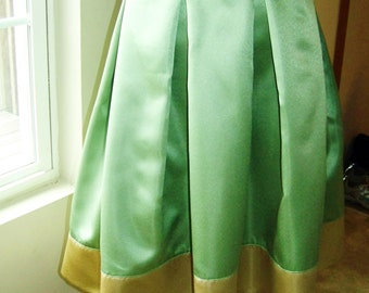 FIT AND FLARE Sage And Gold Colorblock Box Pleat Skirt with Zipper at side. Great for all occasions, great gift idea.