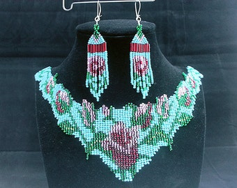 Hand Sewen Necklace and Earring Seed Bead SET accented with a Flower