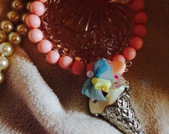 Kawaii ice cream bracelet-pastel food bracelet-gift for her-fairytale whimsical bracelet