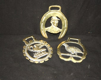 Vintage Set of 3 Brass Horse Medallions