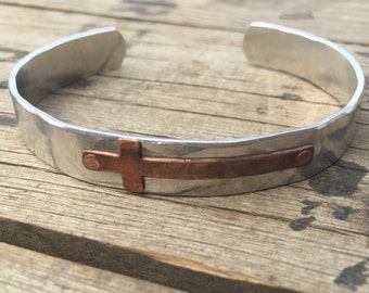 Adjustable aluminum cuff with antique copper cross