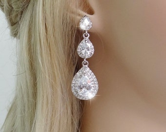 "Bridal Earrings ""Cubic Zirconia""  Wedding Earrings Wedding Jewelry Bridal Jewelry Drop Earrings Style-579"