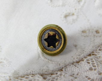 Jacksonian Cousin Brass Button with a Pierced Center Six Pointed Star
