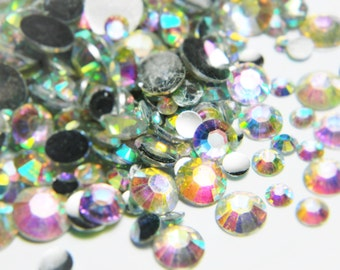 Mixed Size Crystal AB Flatback Resin Rhinestones  3mm 4mm 5mm 6mm 7mm 8mm 500 Pieces Scrapbooking Embellishments