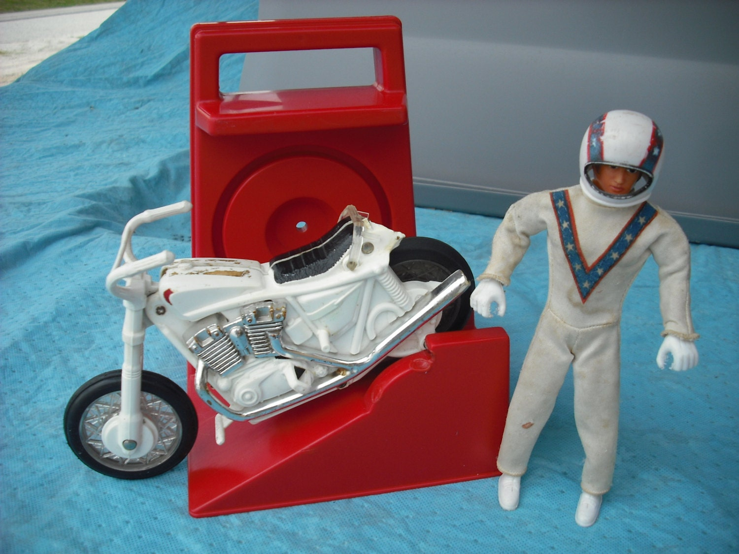 Vintage Evel Knievel In His: Vintage Evel Knievel Stunt Cycle Set With Chrome By