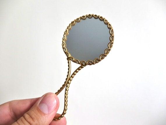 ancien petit miroir de poche en porcelaine de limoges miroir