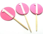 12 Girl Circle Number Picks. First Birthday. Party Picks. Food Picks. Personalized.