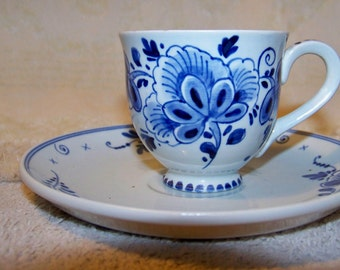 Delft Cup And Saucer - Hand Painted - Made In Holland - Miniature