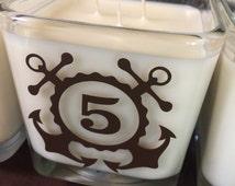 Wedding Table Number Marker, wedding reception centerpiece candle, anchor / nautical / navy / beach theme wedding