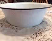 Vintage Enamel Basin Enamel Bowl White and Black Enamel Basin Enamel Pot