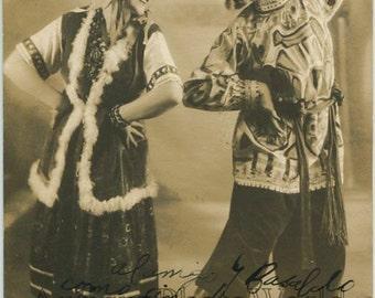 Argentina dancers Josefina Antonio Ortiz in Russian costumes antique signed rppc