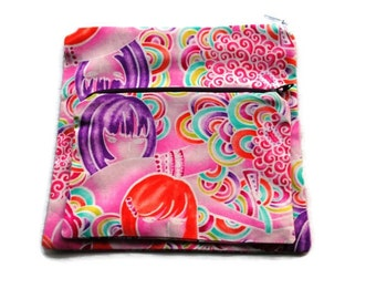 Reusable Sandwich Snack Bags set of 2 Zipper Alexander Henry Pink
