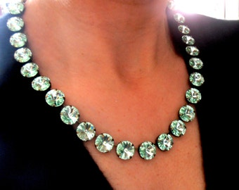Swarovski Necklace / Chrysolite Green / Crystal Rivoli Choker / Cupchain / Anna Wintour / Tennis Necklace by parisijewelrydesigns
