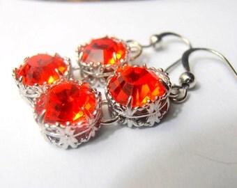 Art Deco Earrings, Swarovski Dangle Earrings, Hyacinth Orange, Assemblance Drops, 10mm, Filigree, Drop,Dangle, Hook, Vintage