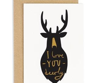 Love You Deerly Card - deer greeting card - CC42