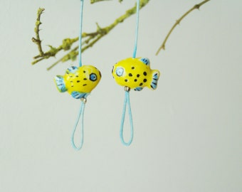 Yellow fish earrings, danlge earrings of ceramic fishies, blue cord and sterling hooks, summer earrings, beach earrings, boho earrings
