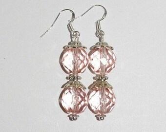 Handmade Pierced Earrings Pink Crystals     - MB221-S