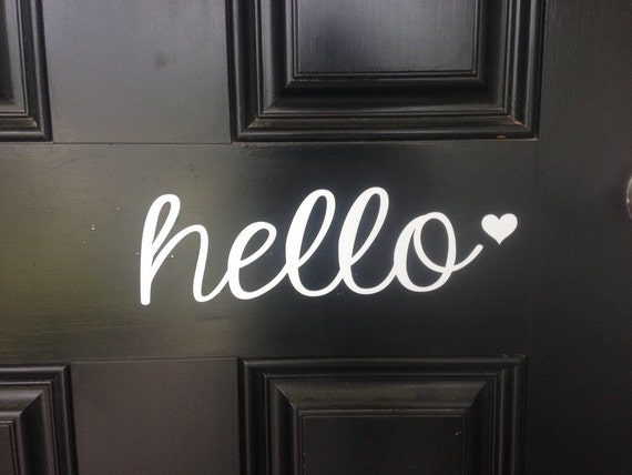 Hello Front Door Vinyl Decal In Your Choice Of Black Or