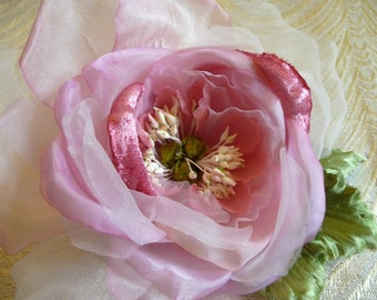 Soft Pink Silk and Velvet Rose Millinery with Leaves for Wedding, Hats, Gown, Fascinator, Corsage