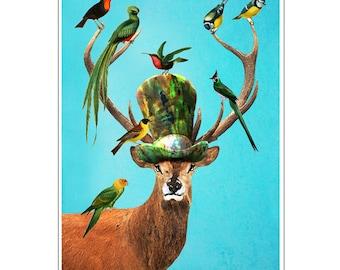 Steampunk Deer, Deer Print, Antler, Stag, Deer Art, Deer Art Print, Deer Artwork, Wall Decor, Wall Art, Wall Hanging, Blue, Bird Prints