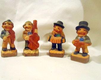 Quartet of Glazed Ceramic Musicians