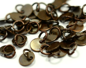 """100 Pieces  Antique Copper  6 mm (15/64"""" ) Round Disc with Jump Ring Attached Charms Findings"""
