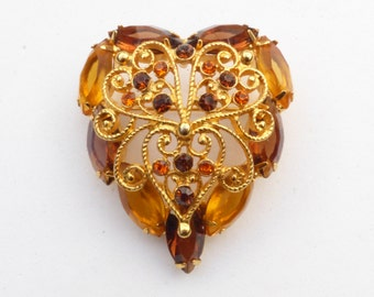 Amber and Honey Topaz Heart Brooch Fliligree Hearts and Scrolls