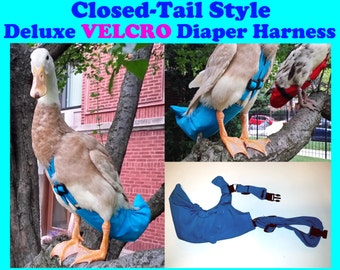 """Deluxe """"Velcro"""" CLOSED TAIL Diaper Harness for Pet Fowl Made-to-Order"""