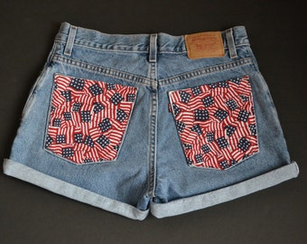 SALE! High Waisted American Flag Back Pocket Shorts ALL SIZES
