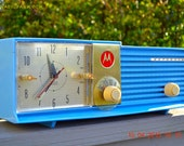 CORNFLOWER BLUE Bi-level Retro Jetsons 1957 Motorola 57CD Tube AM Clock Radio Works!