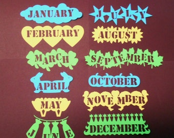 Months/Die Cuts/Embellishments/Paper Cuts/Scrapbooking/Months Of Year