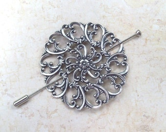 Silver Shawl Pin, Filigree Shawl Pin,  silver scarf pin, lapel pin, hair slide, oxidized, stick pin, floral, fall fashion, round
