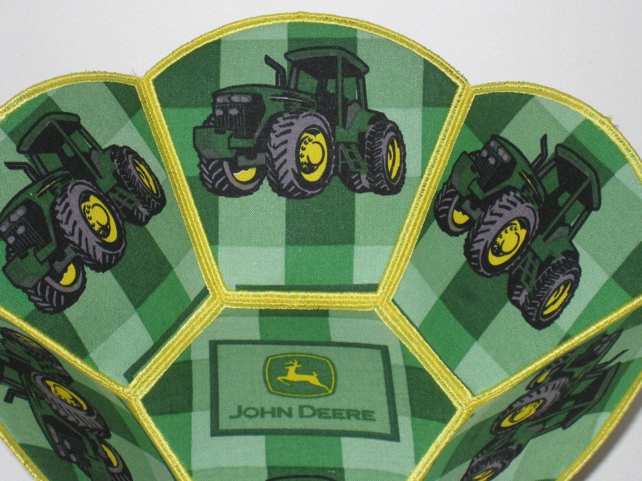 John Deere Machine Embroidery : John deere tractor embroidered fabric bowl reversible green