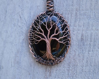 Ready to Ship Black Onyx Cabochon Tree of Life Necklace Handsculpted From Solid Copper Wire See Reviews at Bottom of Listing