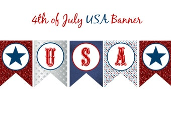 INSTANT Download USA 4th of July INDEPENDENCE Day Banner Printable Download - Fun Party diy