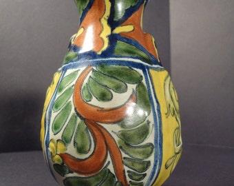Mexican Pottery Handmade Talavera Vase Vintage Ceramic Flower Decor Hand Painted Folk Art Original Studio Colorful Acanthus Floral Artwork
