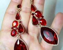 Rhinestone Chandelier Earrings Bridal Prom Pageant 3.4 inch Red Marquise