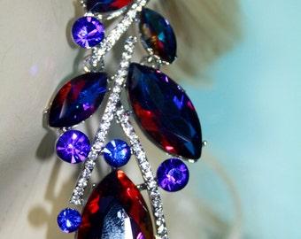 Rhinestone Chandelier Earrings Bridal Prom Pageant 3.5 inch Vitrail Drag Pageant