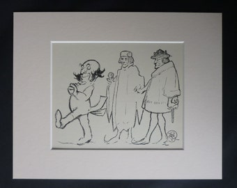 1920s Antique Caricature Print by GK Chesterton of Louis XI and King Henry VII, Available Framed, Satirical Art, Political Satire Cartoon