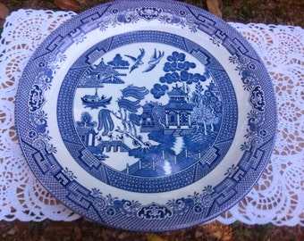 Vintage Churchill Blue Willow Large Platter RARE