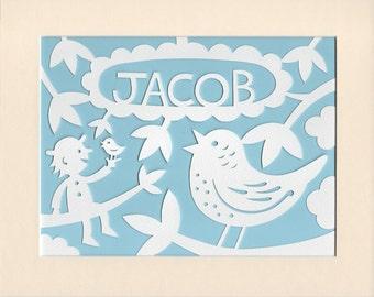Woodland Nursery Bird Papercut, Personalised, Handcut Papercut, Baby Girl Gift, Baby Boy Gift, Woodland Bird Nursery Art