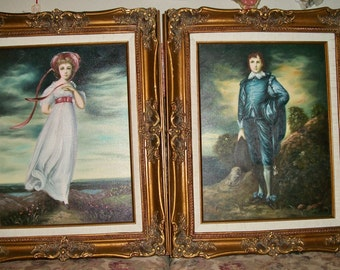 Blue-Boy-Pinky-Paintings-On-Canvas-Signed-17-1/4-x-22-1/4 Ornate J Thomas