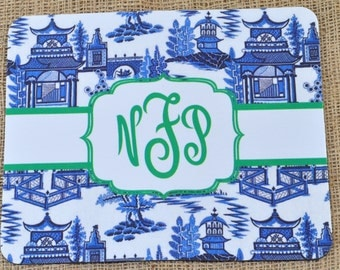 Monogrammed Personalized Chinoiserie Mouse Pad